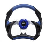 MOMO - ALUMINUM FRAME RACING CAR UNIVERSAL STEERING WHEEL BLUE BLACK